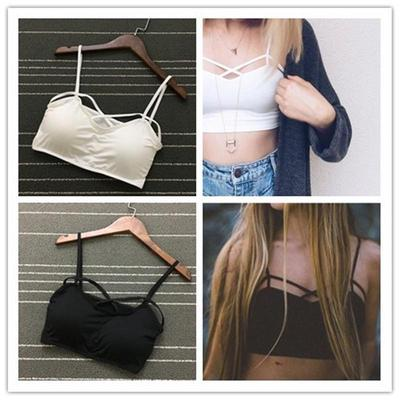 986dcef0d6ac9 Cut Out Bra Crop Bustier Bralette Corset Tops Strappy Tank Blouses  Scanner-proof Top Removable