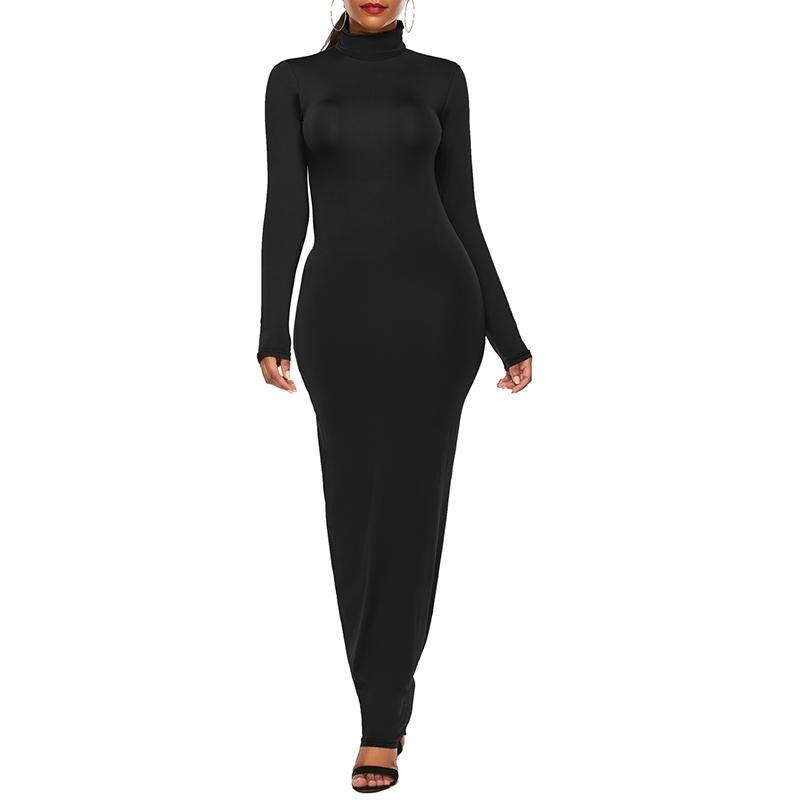 Long Sleeve Turtleneck Dress Plus Size Women Evening Party Casual Vestidos Bodycon Maxi Dresses Buy At A Low Prices On Joom E Commerce Platform