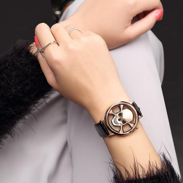 GEEKTHINK Hollow Skull Design Fashion Brand Quartz Ladies Leather ...