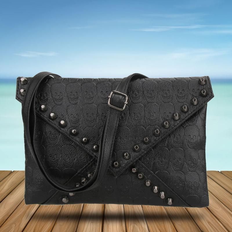 501d01385c30 Панк череп Спайк конверт женщина леди Кожаный клатч сумка сумка ...