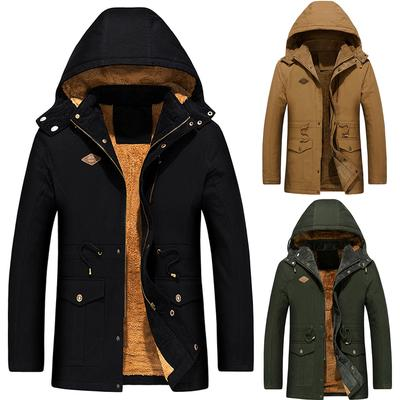Men Autumn Casual Daily Tops Mens Medium Length Fashion Jacket Thickened Velvet Cotton Padded Clothes