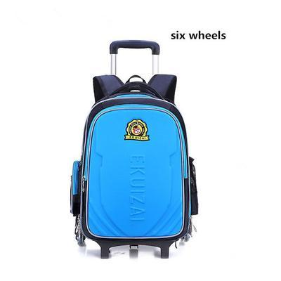 Kids Trolley School Bags Bag Boys Children Backpack 6 Wheels Rolling