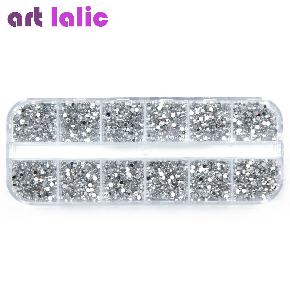 3000шт 1,5 мм серебро круглая плоская спина 3 ногтей стразами блестит с делом DIY ногтей украшения фото