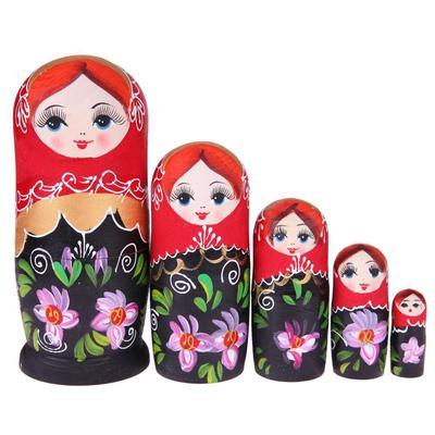 VS2# 5pcs Purple Dolls Set Wooden Russian Nesting Babushka Matryoshka Hand Paint