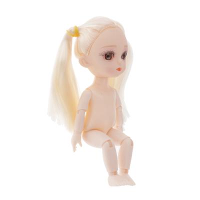 Mini 16cm 13 Joints Nude Girl Doll Body Model DIY Accessory Blond Hair