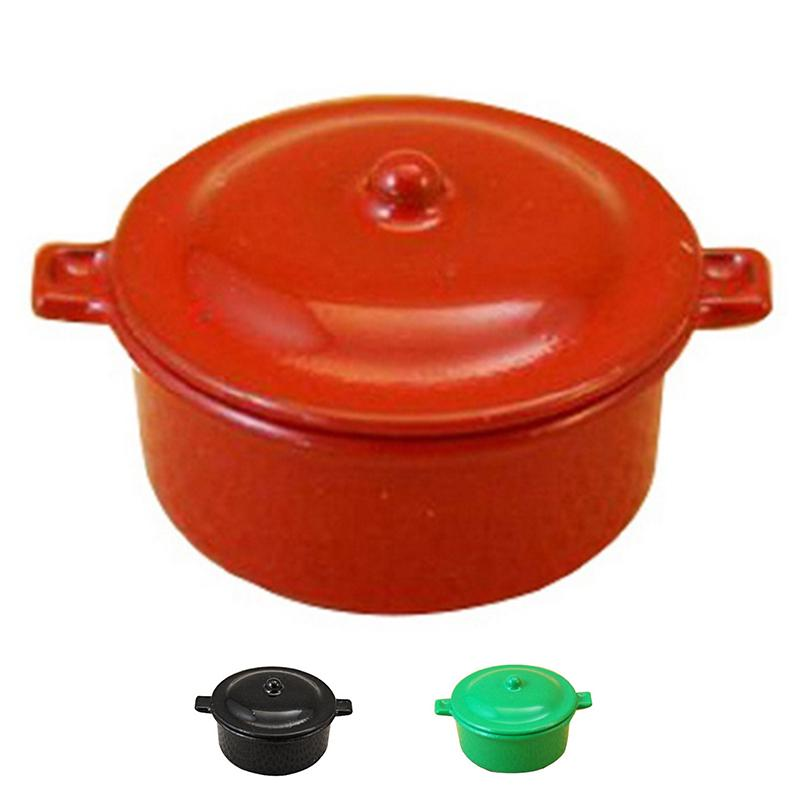 Dollhouse Miniature Red Metal Electric Crock Pot with Removable Lid 1//12 scale