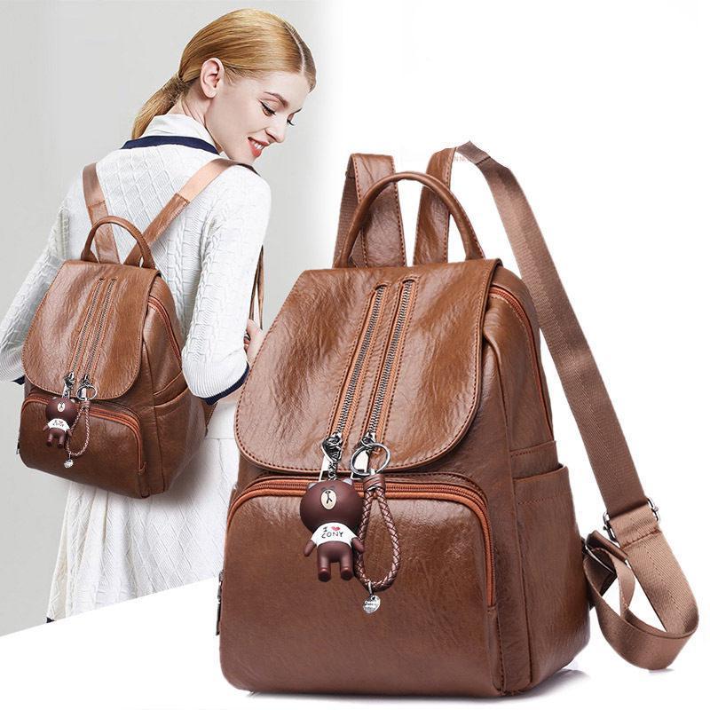 Backpack Color : Black Lightweight Casual Travel Shoulder-Back Dual-use Handbag Womens PU Soft Leather Backpack Multi-Function Large-Capacity Backpack
