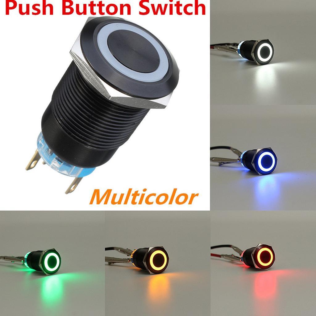 SSF 16mm Blue Angel Eye LED 12V Latching Push Button Power Switch Waterproof