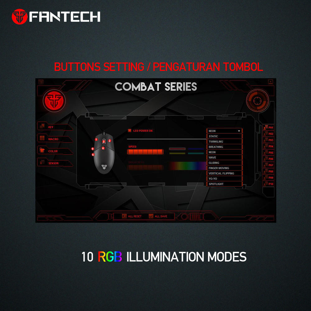 Fantech X8 Usb Wired 4000dpi 6 Buttons Optical Gaming Mouse Led Optic Laser 5 Tombol 1 Of 10