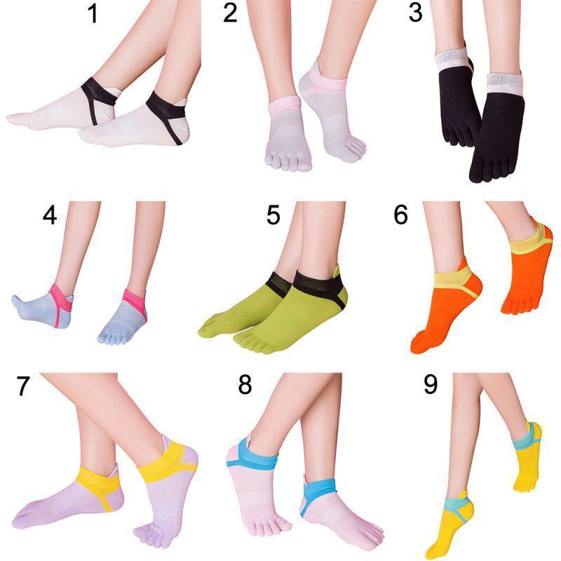 Mujeres algodón del dedo del pie calcetines puro Deportes cinco ...