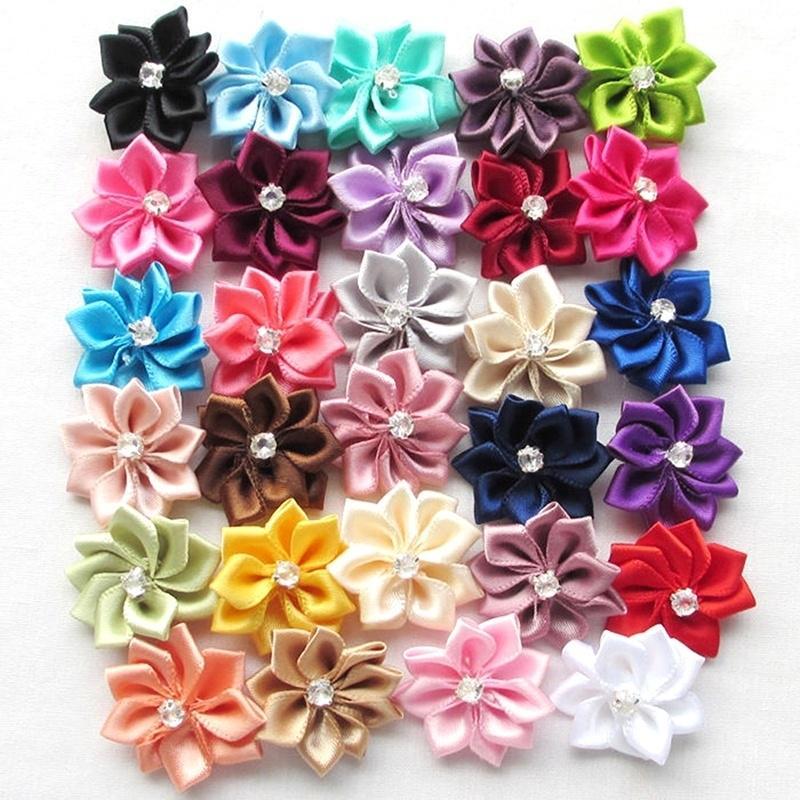 NE/_ 10Pcs Upick Satin Ribbon Flowers Bows Rhinestone Appliques Craft Wedding N