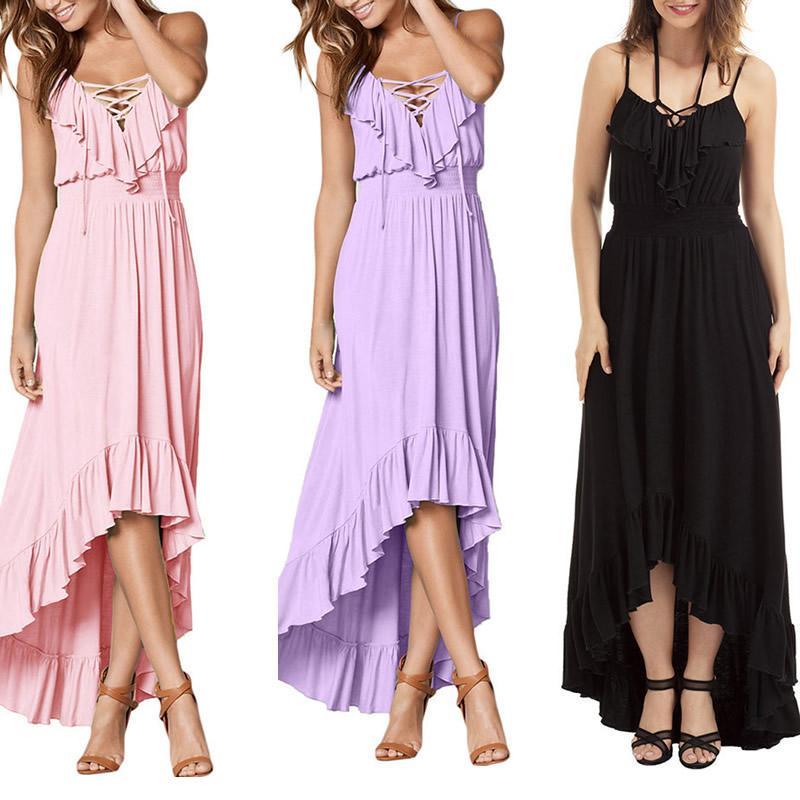 Moda Casual cordones Sexy las mujeres elegantes verano noche vestido ...