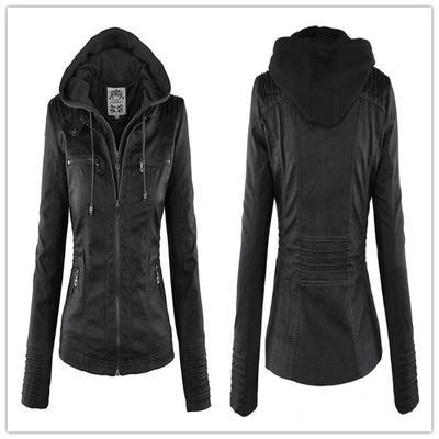 Las mujeres s moda con capucha de piel sintética abrigo chaqueta capa  tamaño S-XXL db97f0450172
