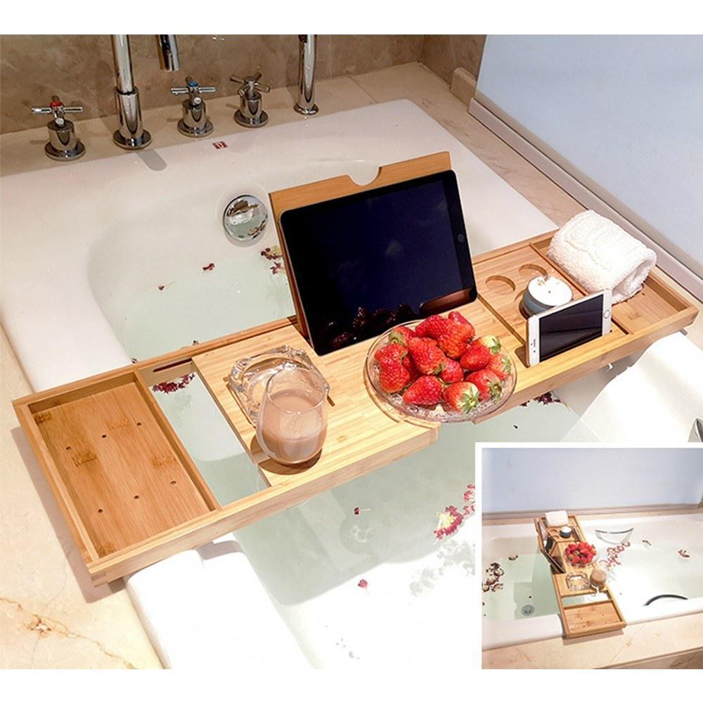 Plastic Bathtub Caddy Bath Bridge Tray Rack Extendable Bathroom Shelf Organiser