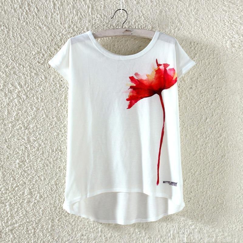 一朵红花印花前短后长宽松女式短袖T恤