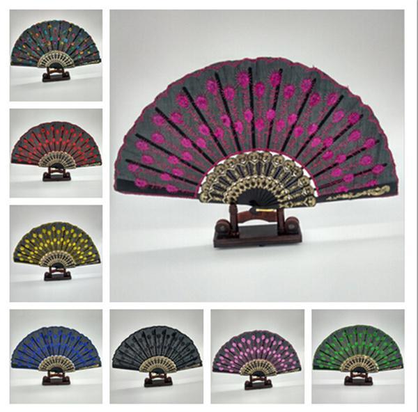 Patrón de pavo real bordado tela plegable ventilador nupcial de ...