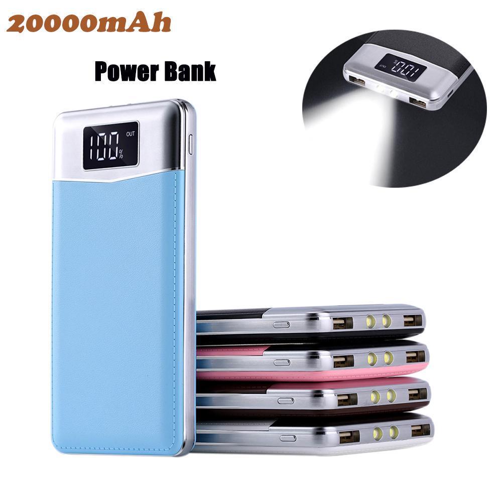 20000Мач мощность банка ультра-тонкий внешний зарядное устройство с двойным USB светодиодный свет для сотовых телефонов