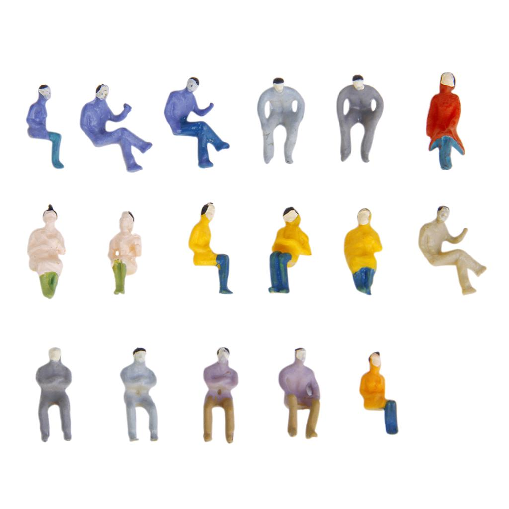 100pcs 1:150 Scale DIY Painted Figure Model Seated Sitting Figures Train Layout