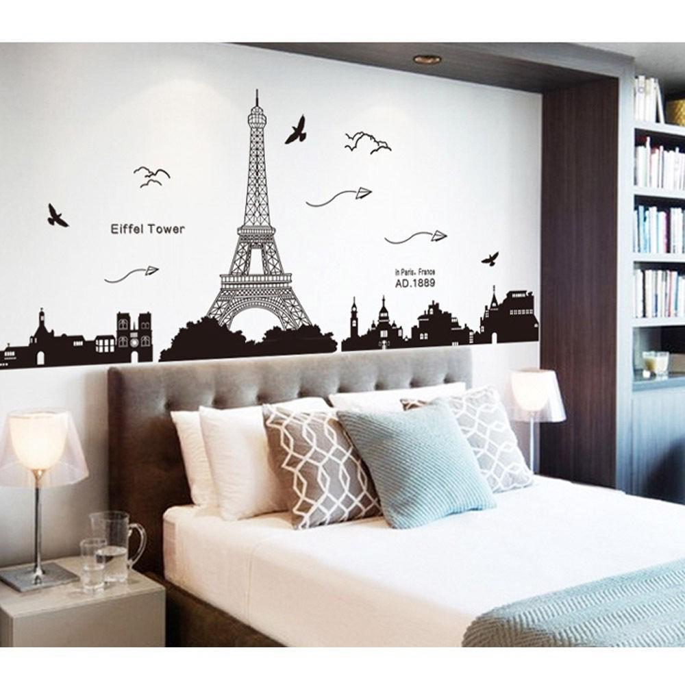 DIY Stiker Dinding Dengan Bahan Mudah Dilepas Gambar Menara Eiffel Paris Untuk Dekorasi Rumah