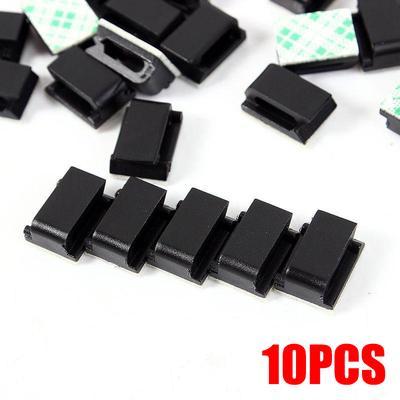 10Pcs Self Adhesive Black Cable Clip Holder Desk Wire Organizer Table Cord Fixer