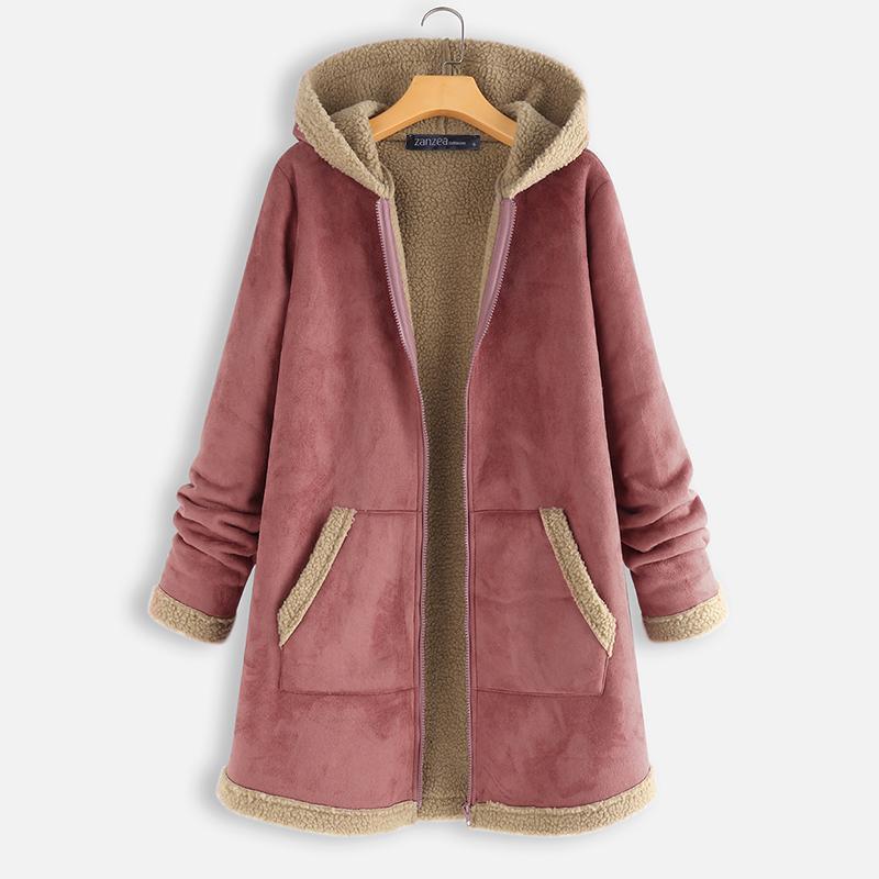SotRong Zip Up Hoodies Coat Long Sleeve Warm Fleece Outerwear Casual Loose Sweatshirts Long Plus Size Jacket with Pockets Hooded Sweater Coats