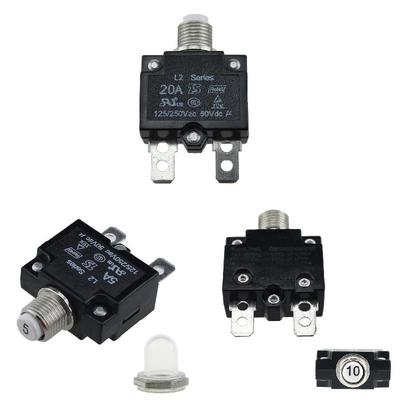 black 20A Circuit Breaker Waterproof Push Button Resettable Thermal Fuse Circuit Breaker Panel Mount