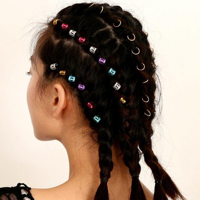 20 Pcs Women Dreadlock Beads Hairpin Hoop Ring DIY Updo Hair Accessories Punk Ne