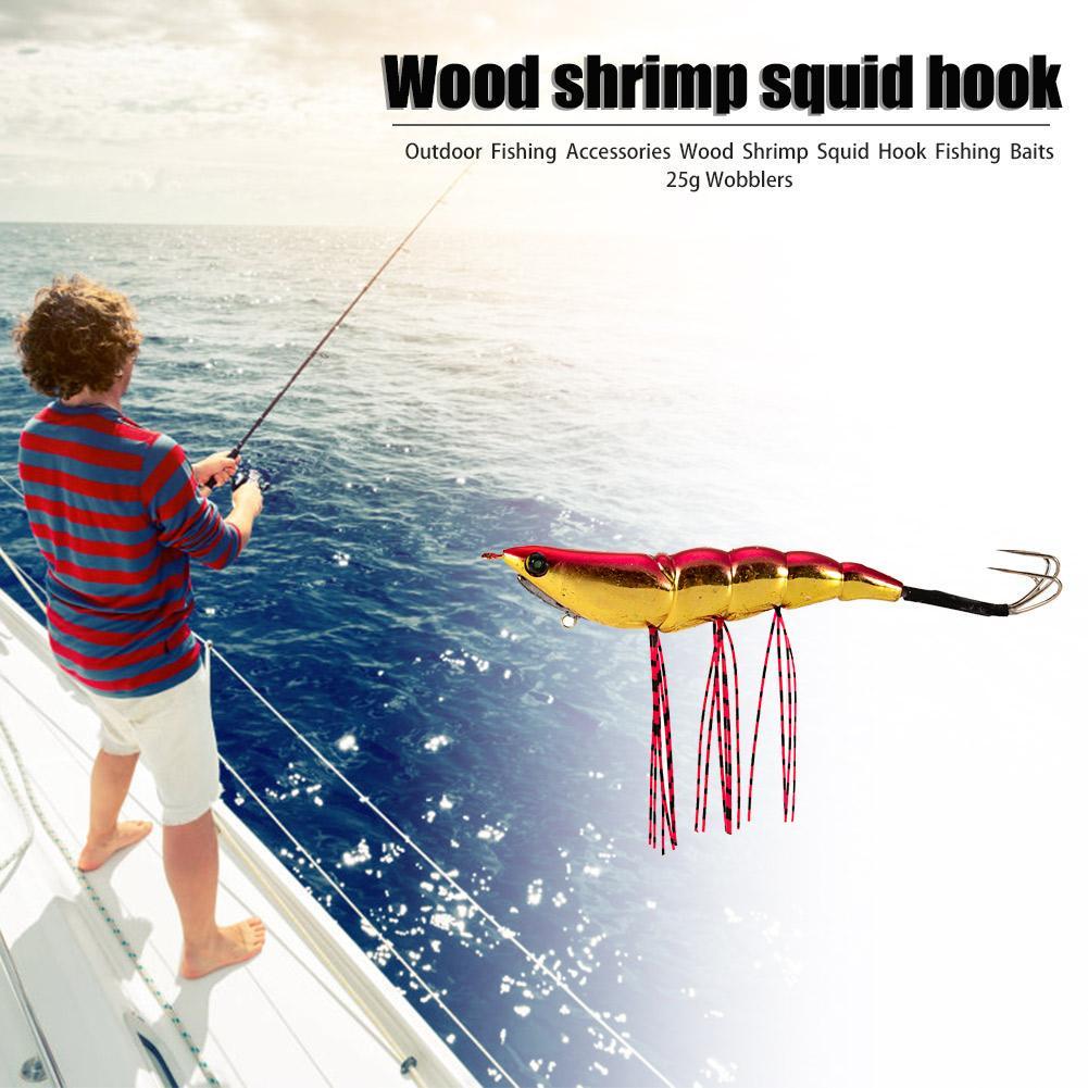 5PCS Fishing Wood Shrimp Squid bait lure Lures hook Crankbaits 2# 8cm//8g