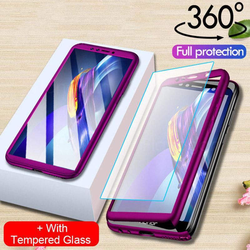 Полная защита жесткий PC телефон случай с закаленное стекло протектор экрана для iPhone Samsung Huawei