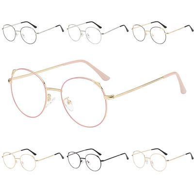 Fashion Vintage Retro Round Glasses Metal Frame Clear Lens Geek Sunglasses