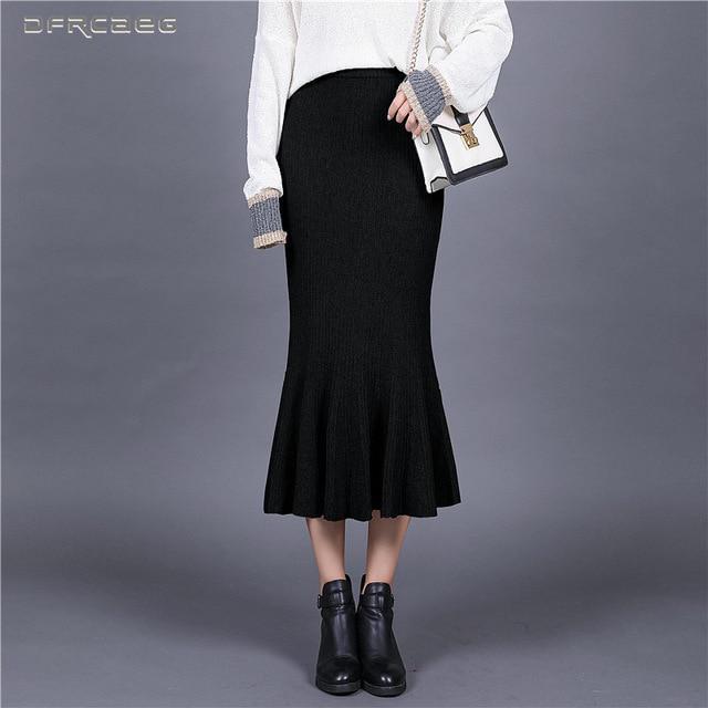 Elástico de punto alta sirena faldas mujer moda otoño invierno trompeta cintura  punto falda lápiz - comprar a precios bajos en la tienda en línea Joom 0bb0d65c10f3