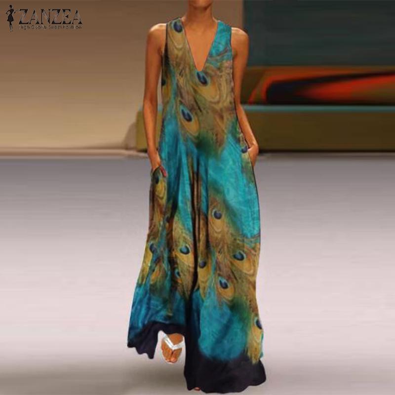 ZNAZEA Women Cotton Solid Sleeveless Dress Robe Gown Crew Neck Tank Sundress NEW