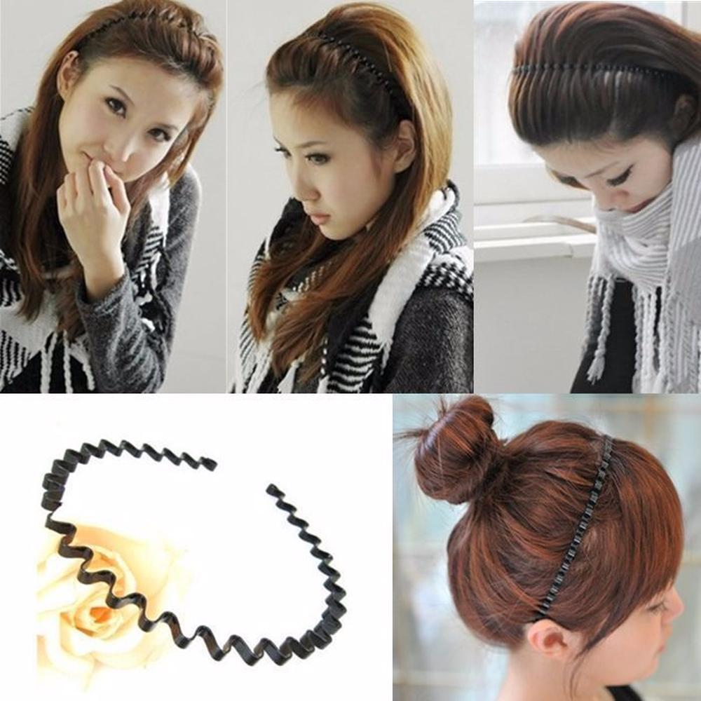 Metal Men Women Unisex Wavy Hair Head Hoop Band Sport Headband Hair Accessory