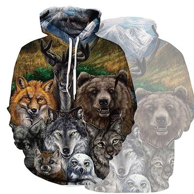 535051ba41ec 3D Animals Hoodies Men Personality Wolf 3D Printing Hoodies Pullovers  Outdoor Tops S-2XL