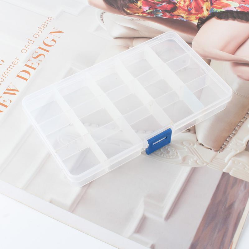 Plastic 10//15 Slots Adjustable Jewelry Storage Box Case Craft Organizer Bead