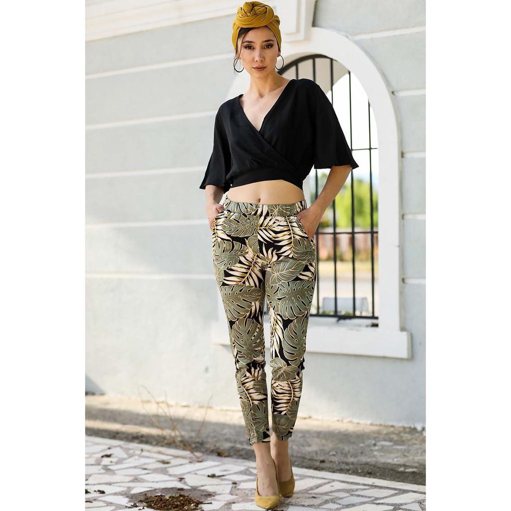 Хаки женские узорные брюки с карманами – купить по низким ценам в интернет-магазине Joom