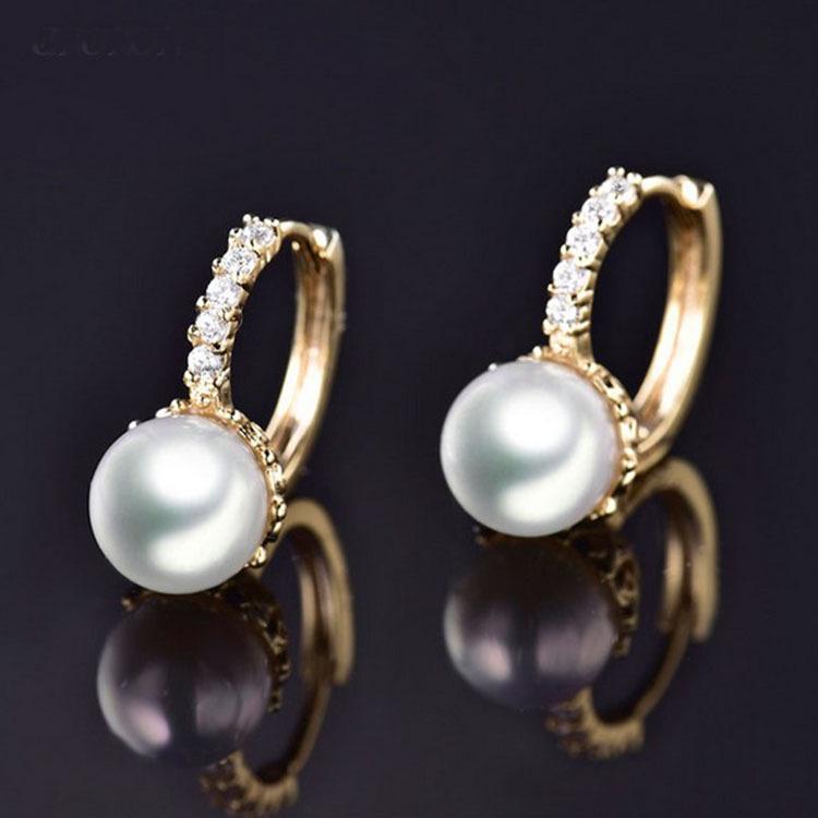 高档珍珠耳扣镶锆石女饰品 镀金环保耳饰