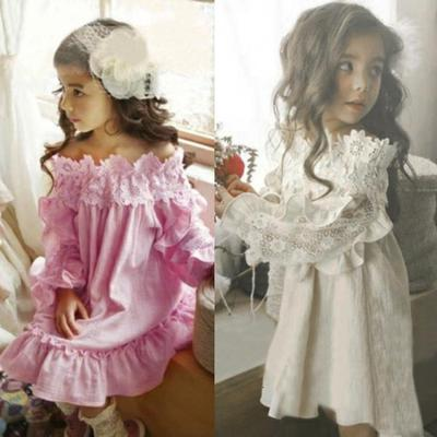 389b3a498300 Kids Toddler Baby Girl Off Shoulder Lace Party Princess Dress Outfit Clothes