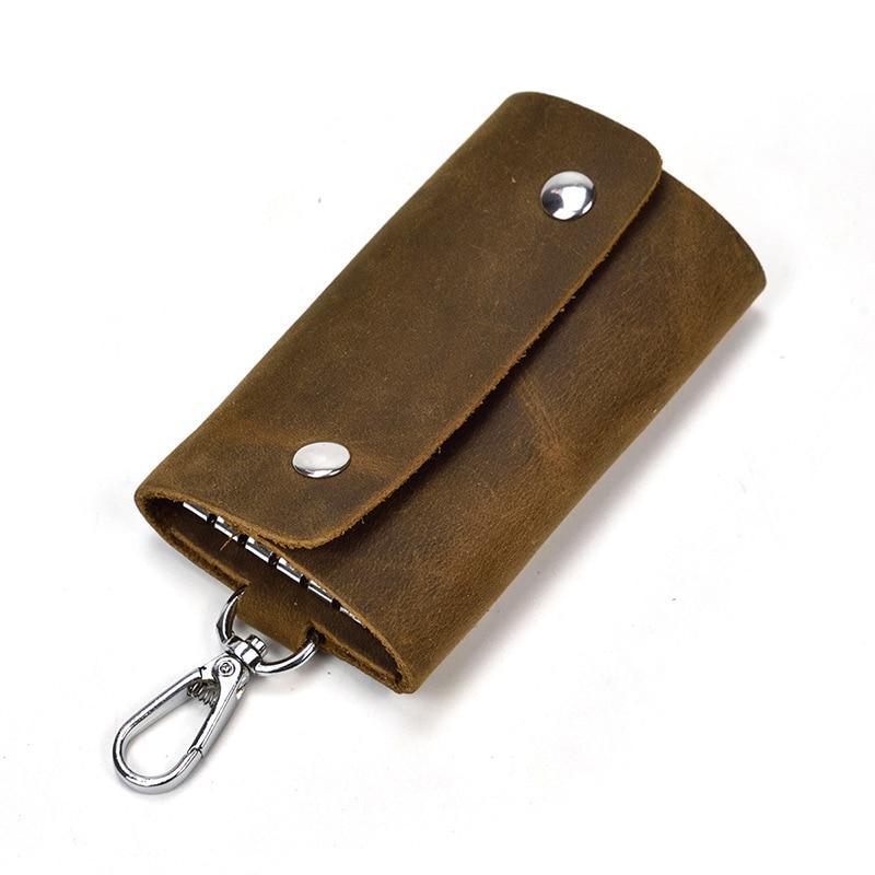 Men/'s Leather Crocodile Pattern Car Key Case Vintage Waist Padlock Key Case