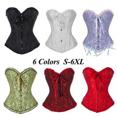 b11925c567f FC Women s Lace Up Overbust Plus Size Boned Corset Bustier Body Shaper Top  + G-