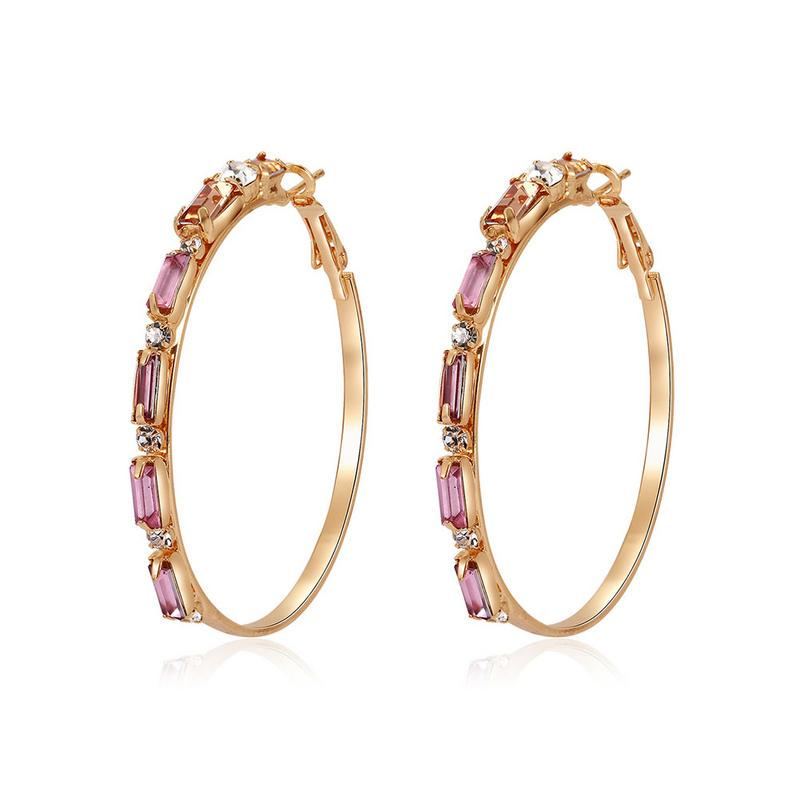 Large Gold Color Statement Earrings Twisted Circle Huggie Hinged Hoop Dress Party Event Stylish