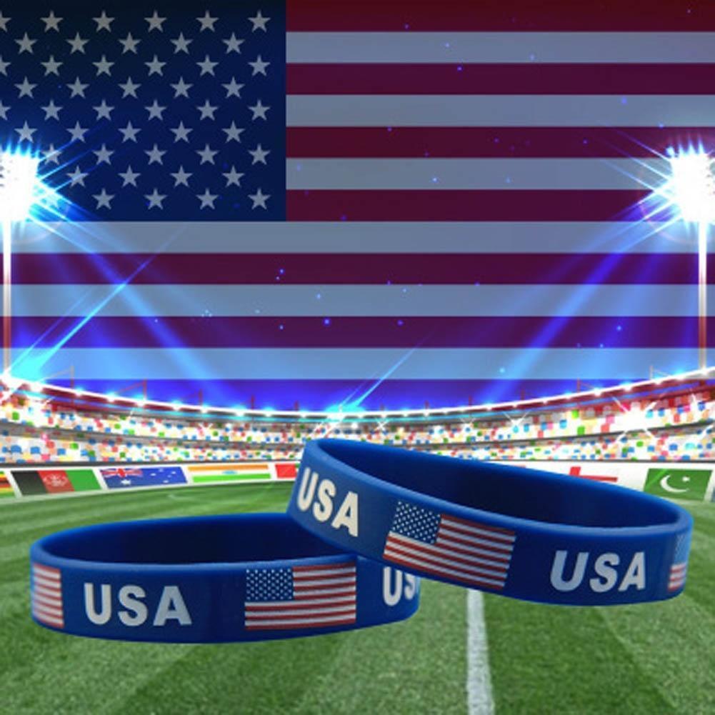 UU bandera Americana Brazalete Joyería Goma Pulsera Brazalete de Silicona Gel de sílice EE