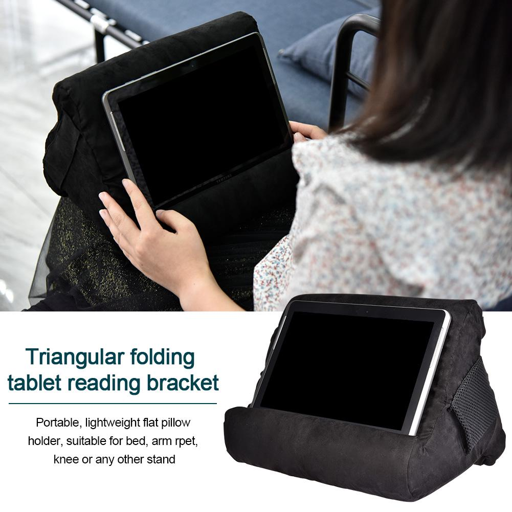 Electronic Book Reader and Tablet Folding Triangular Durable Flat Bracket Multi-Angle Soft Support Pillow Lap Stand with Small Pockets for iPad