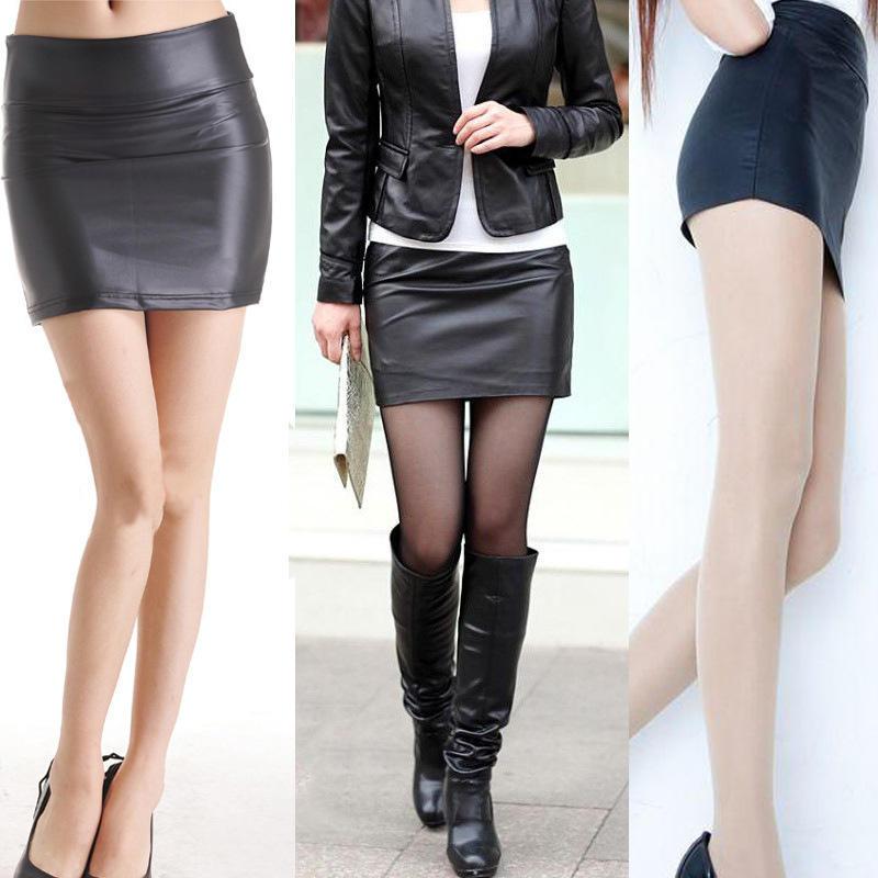 韩版 PU皮裙迷你裙包臀皮裙一步裙修身显瘦短裙 磨毛常规款