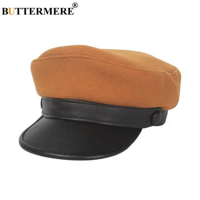 Sombrero militar de vendedor de periódicos lana cuero Patchwork ... f40c68f1418