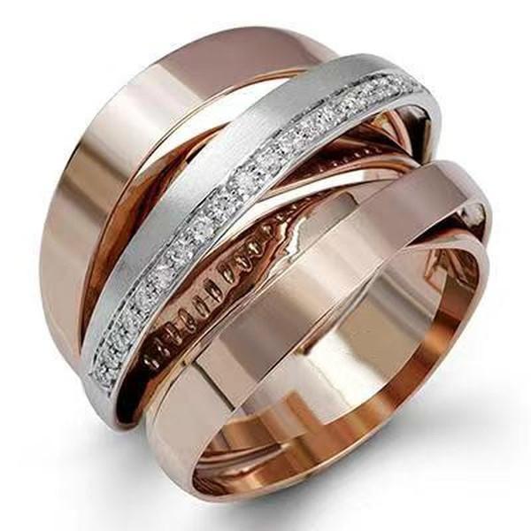 Уникальный щеткой два тона 18K Розовый золото белый сапфир кольца двухцветный Обмотки Невеста Участие кольцо