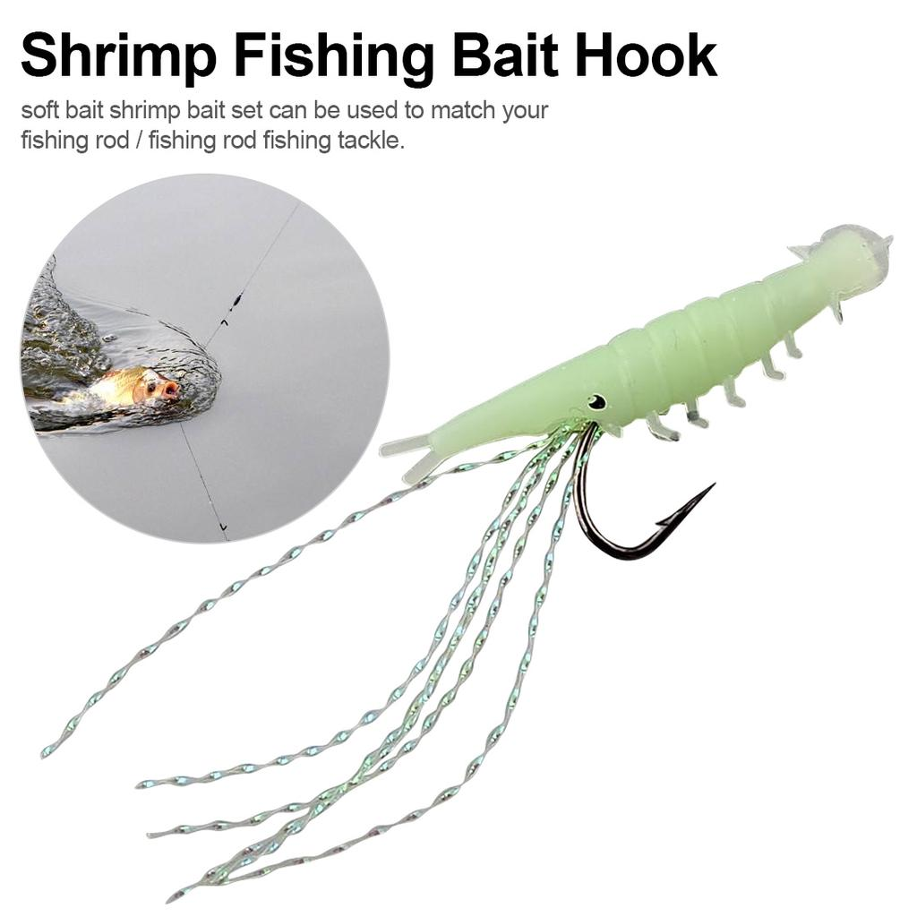 For Sabiki Type Rigs.Enough for 4 Rigs 16x Soft Shrimp Glow in Dark Mini Lures