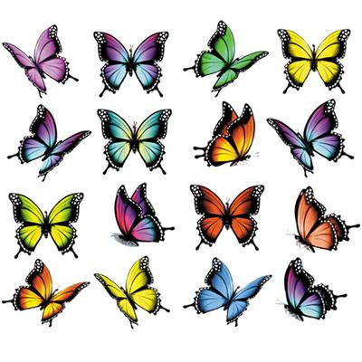 16Pcs/Set Beautiful Butterfly Stickers For Clothes Heat Transfer Diy T-Shirt Clothing Stickers Stripe Washable Iron On Patches