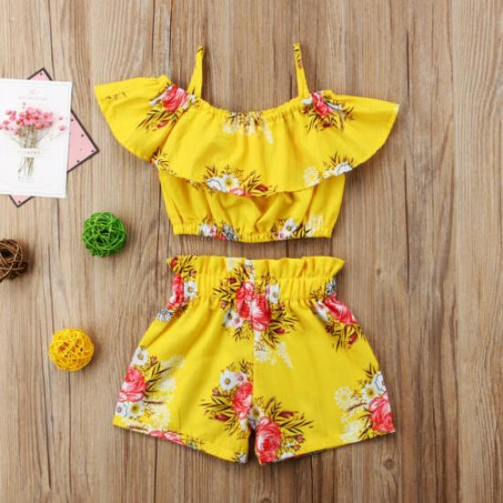 Toddler Kids Baby Girl Summer Shorts Sets Floral Halter Ruffled Top Pants Outfits Summer Casual Vacation Clothes