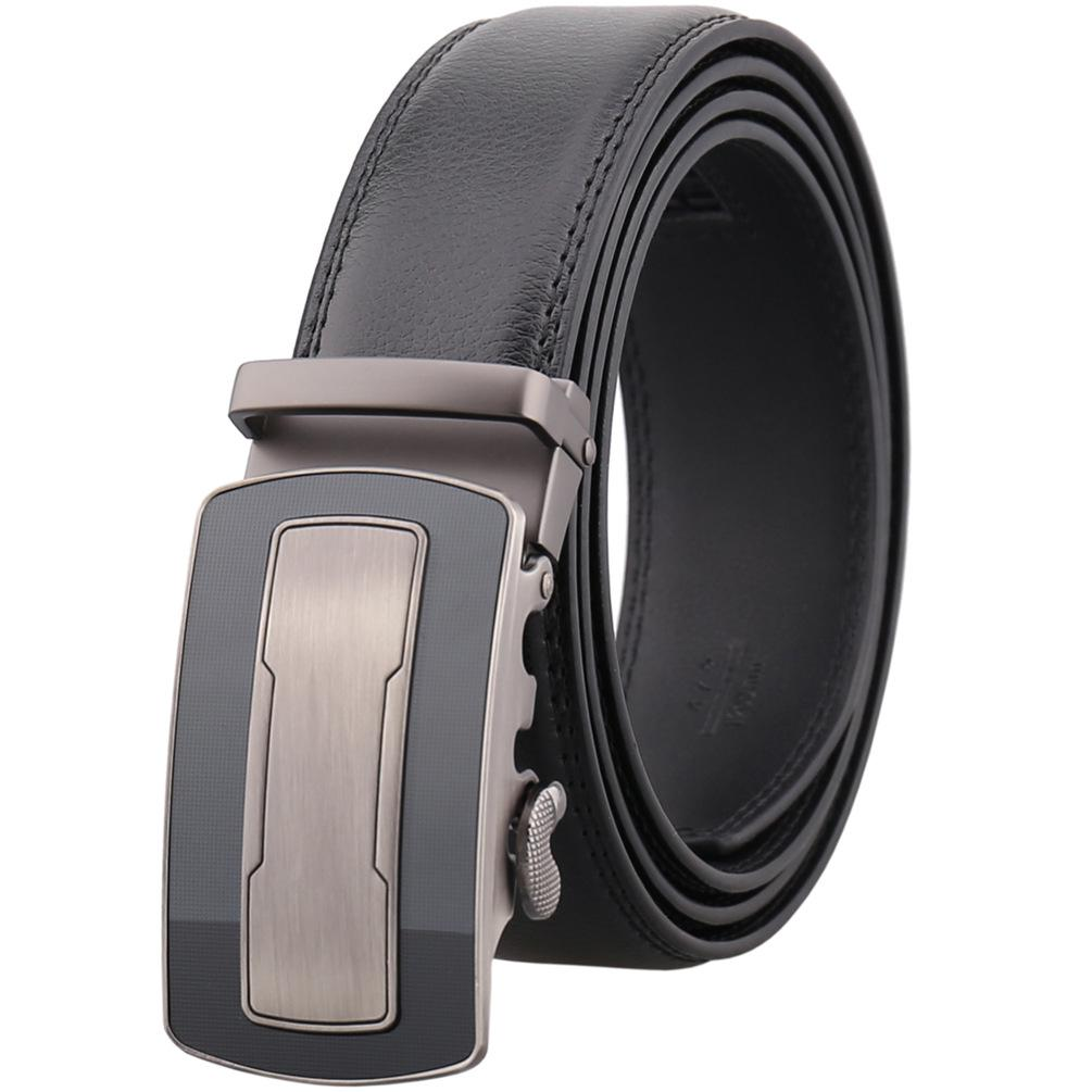 Fashion Men/'s Automatic Ratchet Slider No Hole Designer Luxury Gold Buckle Belts